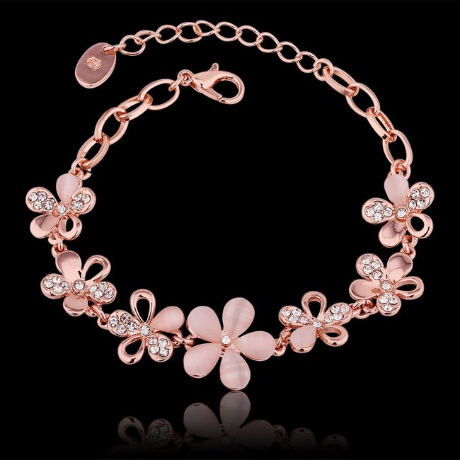 2018 New Arrival 18k Rose Gold Plated Fashion Dignity Zircon Rhinestone Lucky Ball Bangle