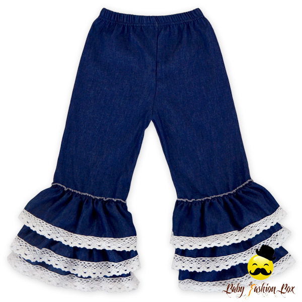 New Design Girls Autumn Lace Ruffle Denim Pants Navy Casual Matching Shirts Jean Pants