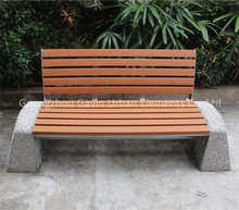 Cement stone leg recycled plastic slats garden furniture outdoor seating