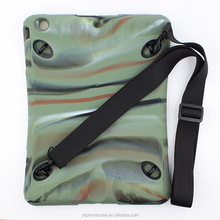 For iPad mini 1 2 3 rugged rubber camou case pouch with shoulder strap