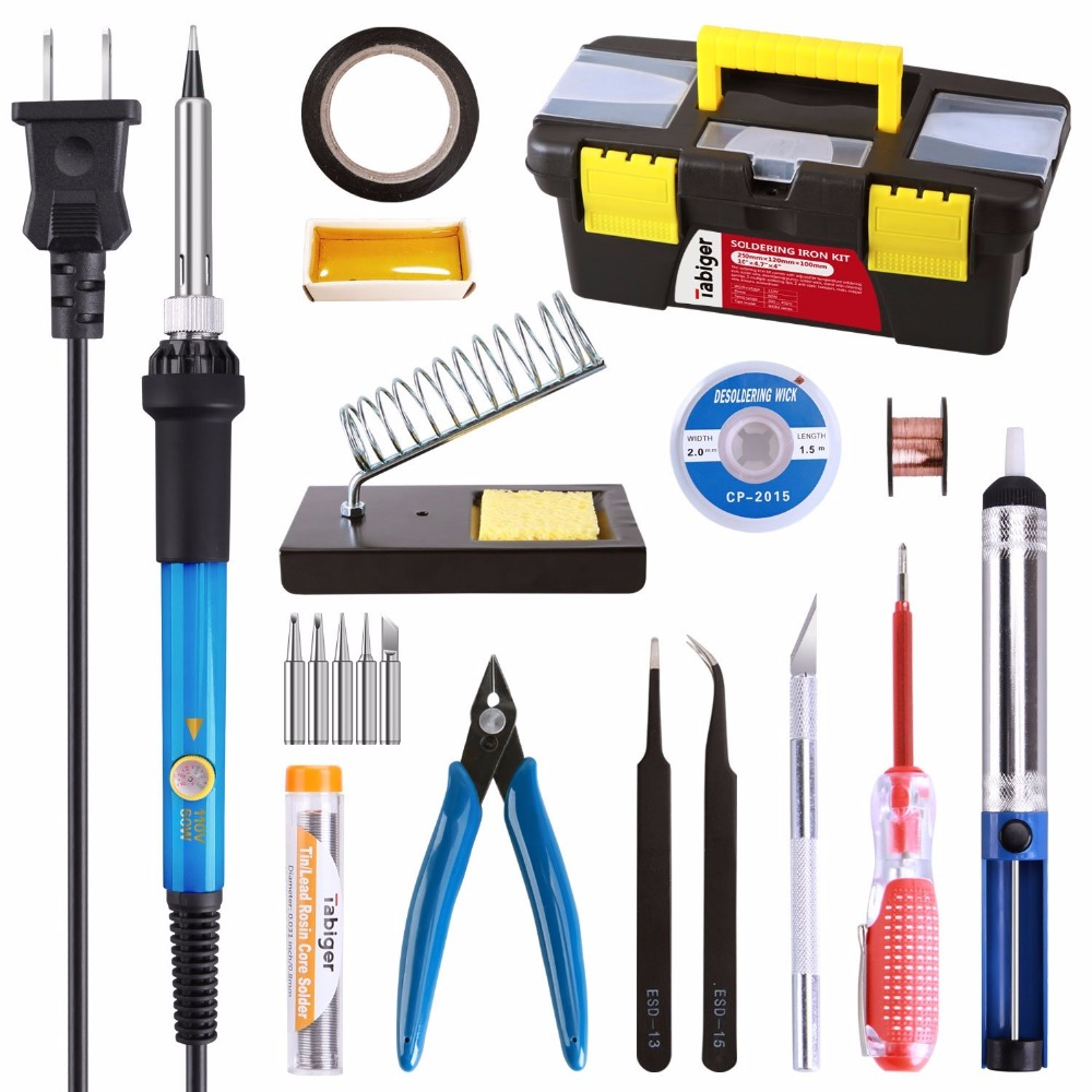 16 In 1 Full Kit Soldering Iron Kit Temperature Control with 60W Adjustable Switch Tips Solder Sucker Soldering Iron Kit 60W