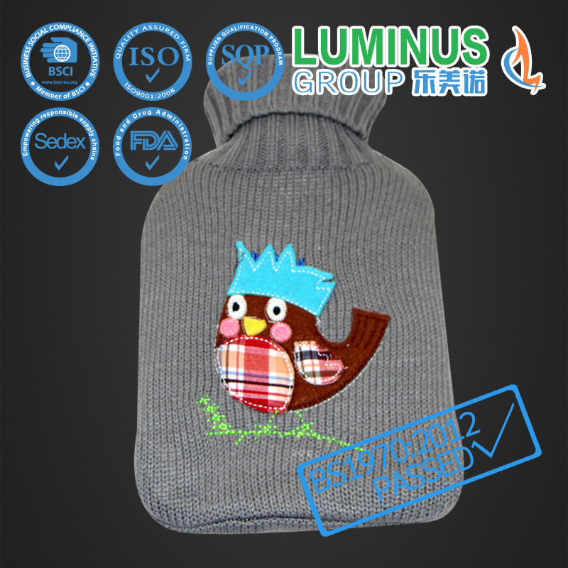 Good quality hot water bottle with bird pattern embroidered /knitted cover