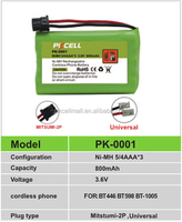 Battery for cordless drill PK-0002 ni-mh AA 700mAh rechargeable battery pack for BT904 cordless phone