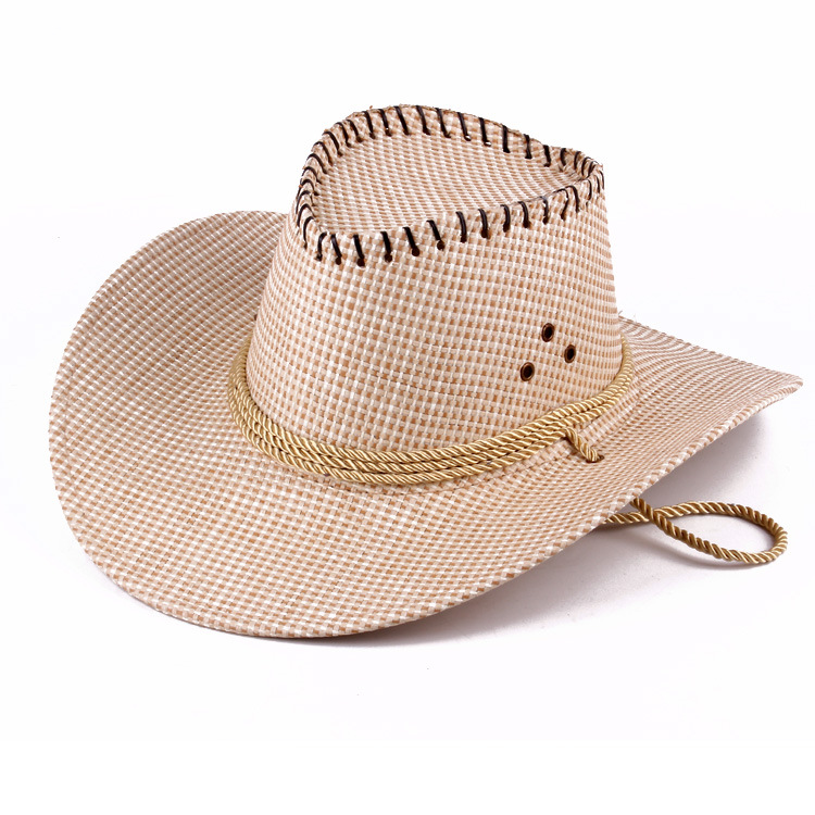 QX872 Spring and summer men straw cowboy hat Large outdoor camping horseman hat the leisure blocks sun straw cap