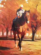 Top Seller Manufacturer Skilled Old Artist Handmade Abstract Landscape Man Riding Horse Oil Painting On Canvas For Wall Artwork