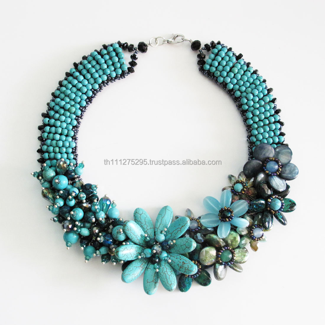 Turquoise and Howlite Flower Stone Necklace Statement necklace, Flower necklace, Stone jewelry