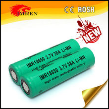 2014 New 18650 38A battery IMREN IMR18650 2600mAh 3.7V 38A high drain Li-Mn rechargeable battery with flat top