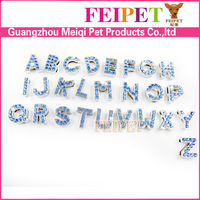 fashionable dog collar rhinestones slide metal letter charm