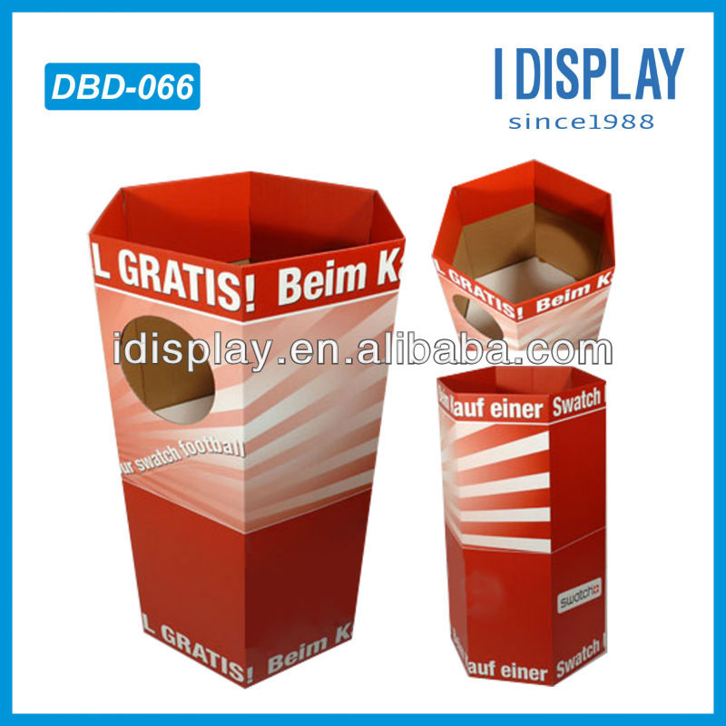 round dump bin cardboard display stand and rack for promtion products
