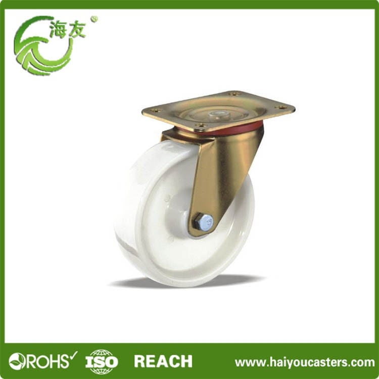 Medium duty high quality pp white swivel caster without brake