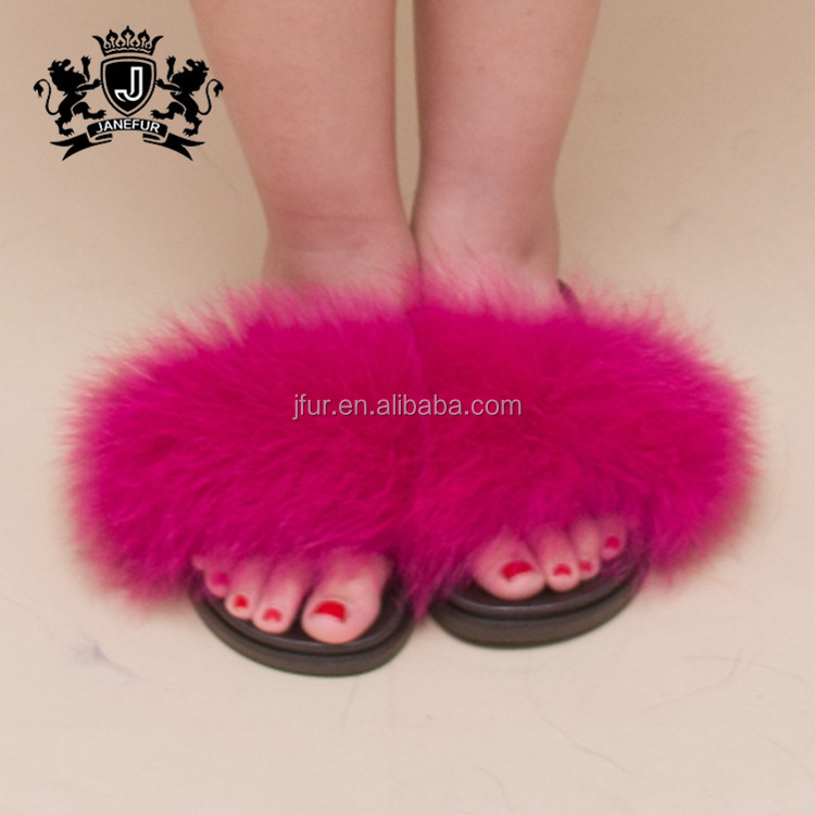 Professional Design Rubber Sole High Quality Indoor Slippers Fox Fur Cheap Flip Flops