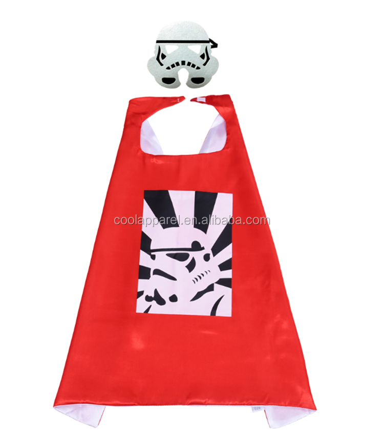 Double Layer 70cm Satin Kids Super Hero Costume Cape and Masks