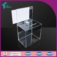 Wholesale Factory High Quality Charity Donation Box Glass Money Box Clear Square Acrylic Donation Box