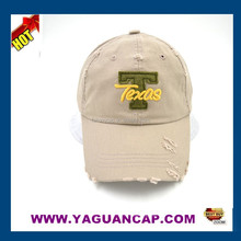 100% washed cotton distress embroidery baseball cap custom cap promotional cap
