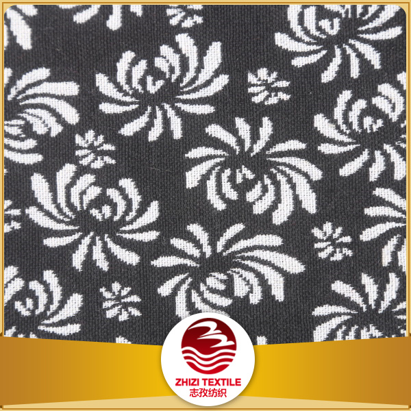 Yarn dyed 70% polyester 30% cotton classical black and white color floral fashion garment fabric