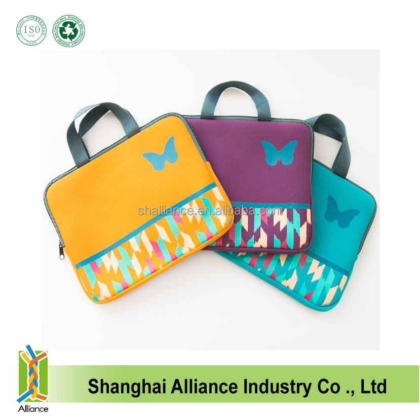 Fashion Handle eco Neoprene laptop Sleeve laptop bag/tablet bag for ipad air/for ipad mini 2