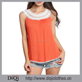 Wholesale Women Summer Patchwork Pattern Orange Lace O-Neck Loose Sleeveless Boho Beach Tank Tops