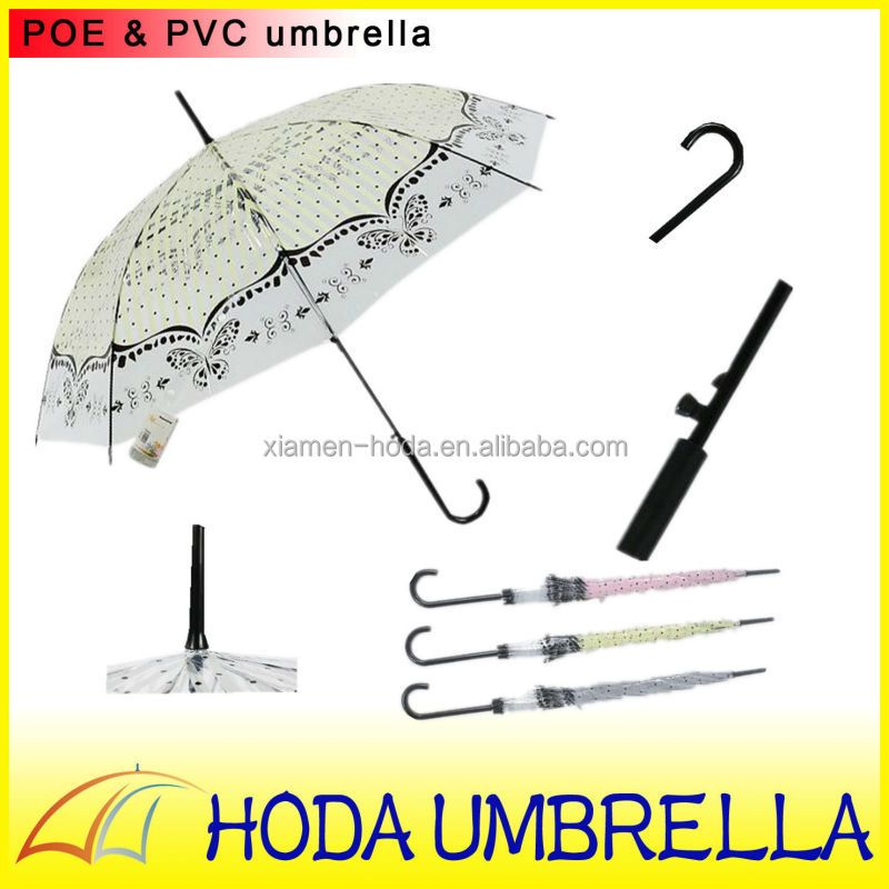 Pink and yellow dot and butterfly edge transparent POE lady's straigh umbrella