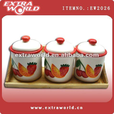 fruited painted ceramic soy sauce and vinegar bottle