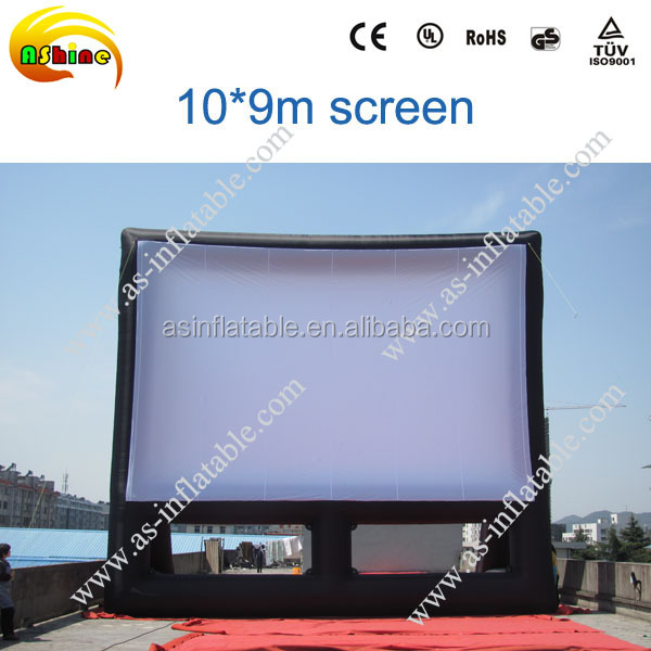 customized outdoor giant white&black inflatable movie screen for advertising/projector