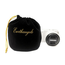 Luxury camera bag velvet pouch with gold stamping logo