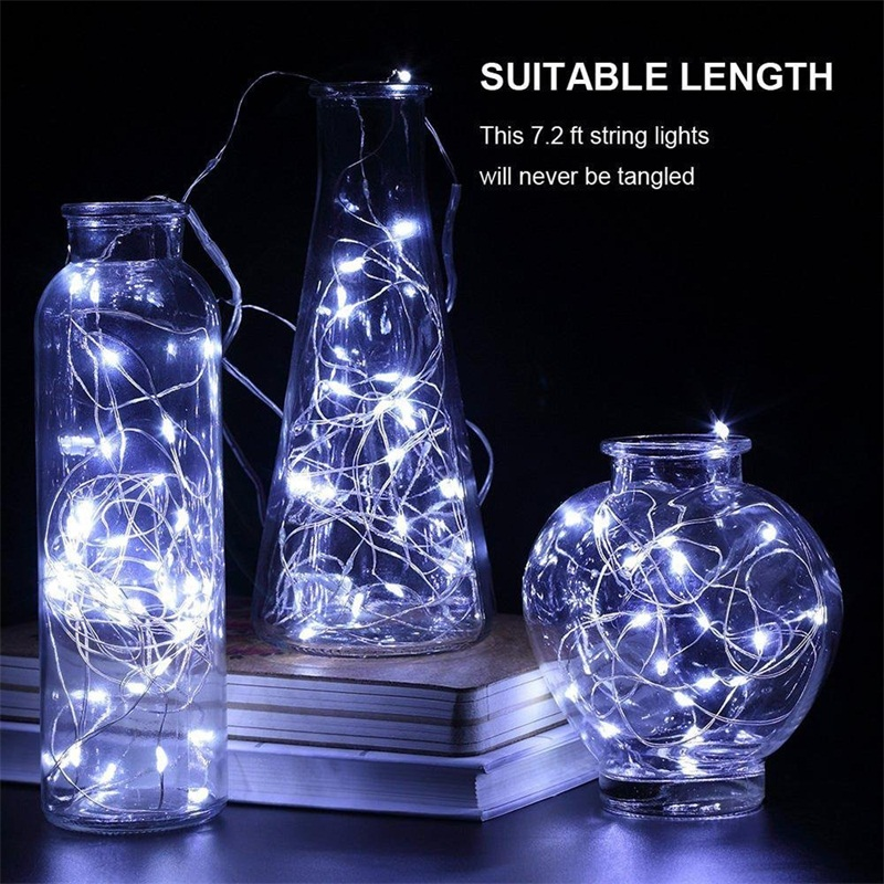 2M Silver Clear Wire LED String Lights, LED Copper Wire Twinkle Light