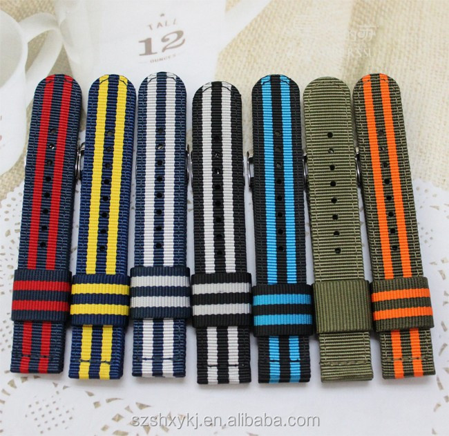 22mm 24mm Two-piece Style Cool Fabric Watch Band With Adapter