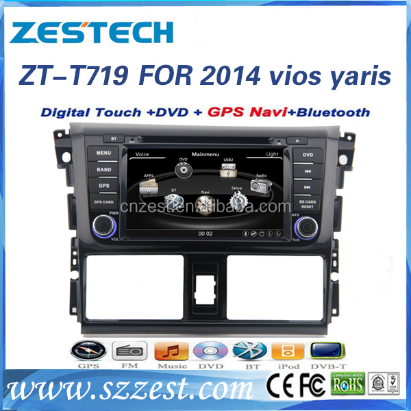 factory price vision car dvd player For TOYOTA vios yaris 2014 support 3G audio DVB-T MP3 MP4 HDMI DVD function