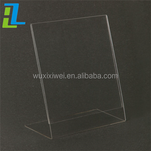 Slant L shaped plexiglass counter top magnetic acrylic table display A6 A4 A5 clear plastic sign holder