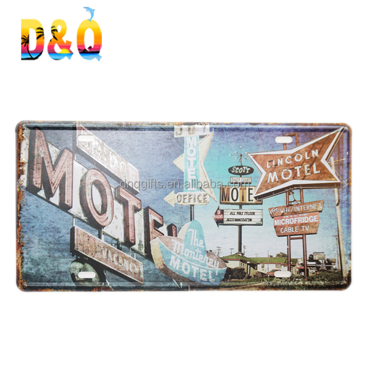 Motel door decorate metal license plate sign license plate