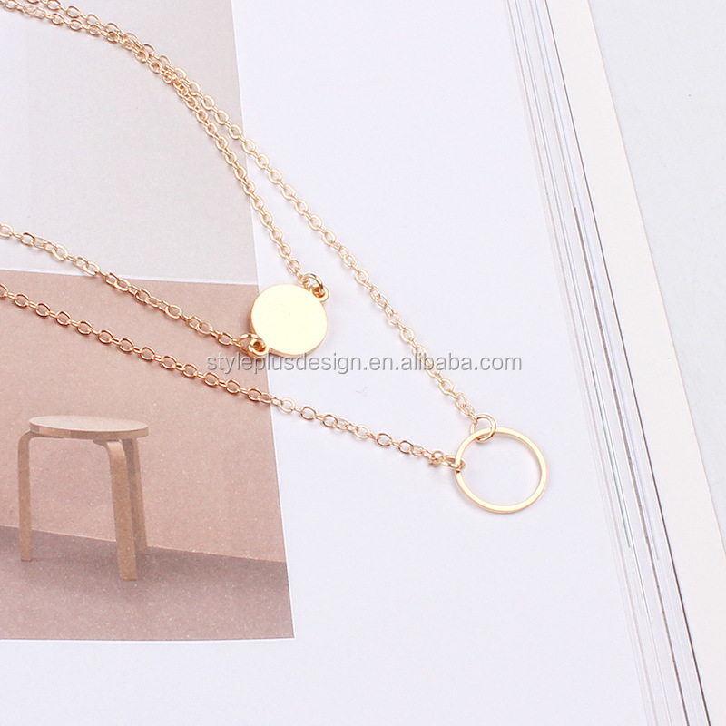 FC399 layering choker necklace set gold rani haar designs photos round circles in silver pendant gold plated jewelry sets