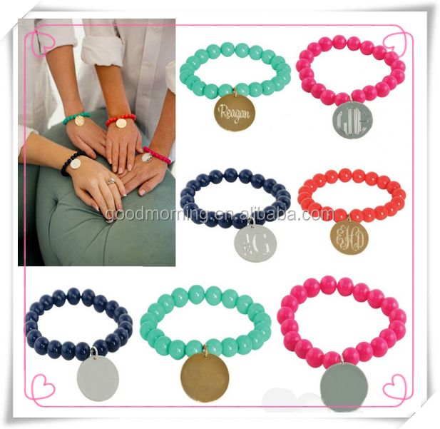 Colorful Beaded Link Strench Charming Monogram Bracelet
