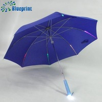 Colorful flashlight led umbrella with light handle