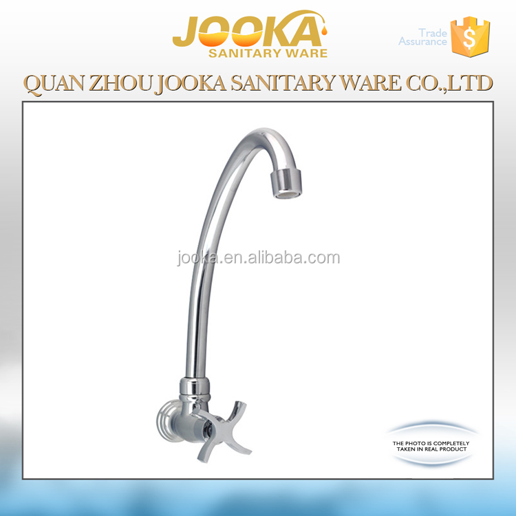 Wall mounted cold water kitchen sink tap with cross handle