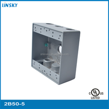 "Metal weatherproof 5 outlet hole 1""hole 33.5 cubic inch galvanized drawn square UL outlet electric box"