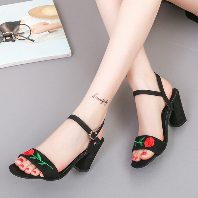 DL20282B latest women black embroider suede open toe adjustable ankle strap low chunky heels woman sandal