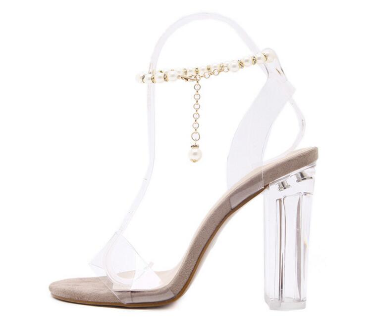 Wholesale fashion PVC women high heel ladies rubber sandals
