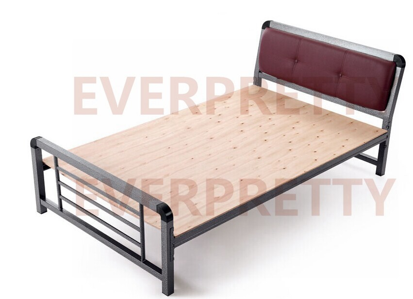 2017 single metal bed with leather padded headboard