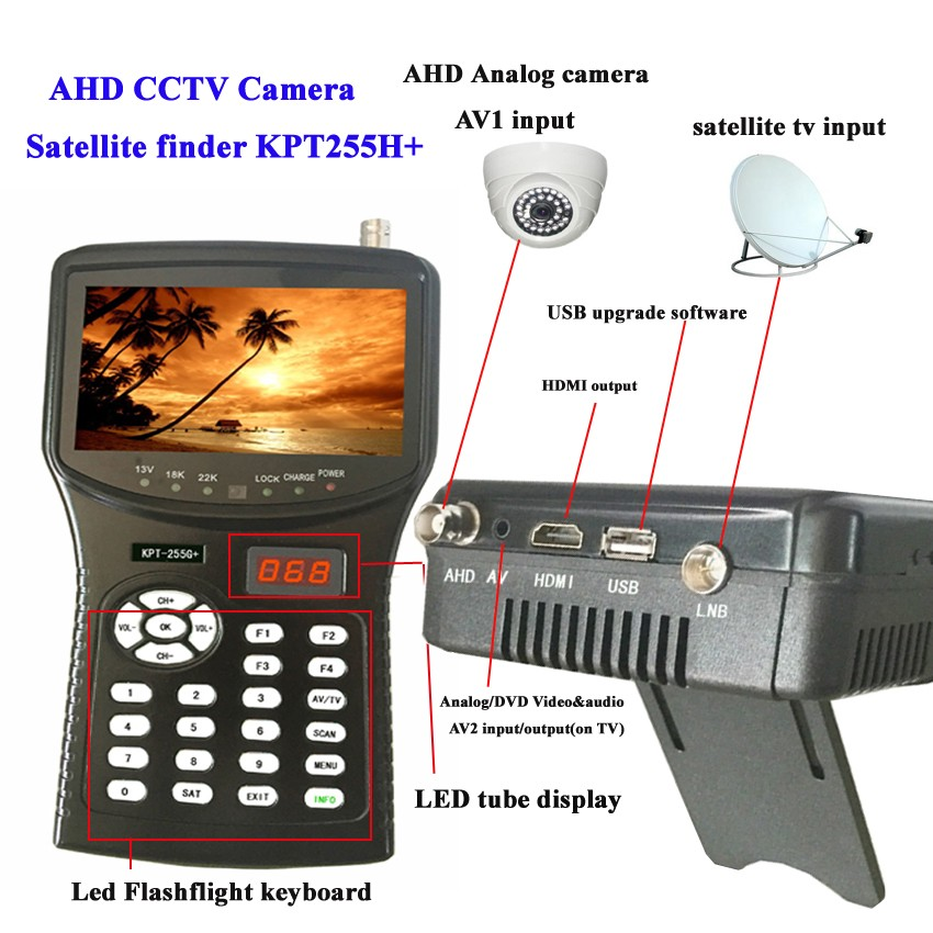 Newest design full hd digital satellite dish signal strength finder meter with AHD CCTV Camera test