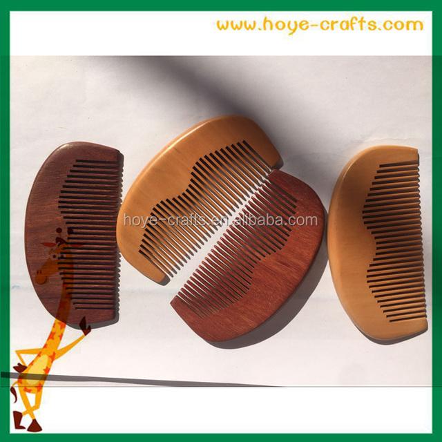 2016 Wooden hair comb natural color mens beard comb