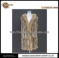 Knitted Genuine Rabbit Fur Hoodie Vest