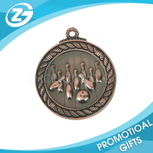 Custom Bowlling Game Souvenir Awards Ribbon Metal Sports Medal Prize