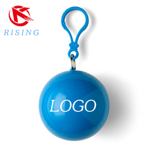 Customized print disposable poncho ball with keychain