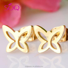 New 2016 latest gold plated butterfly fly for pretty earring women jewelry