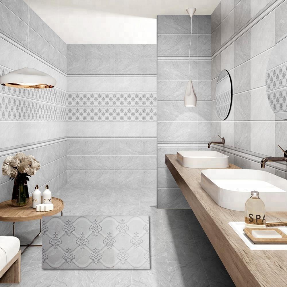 Best Price Glazed Digital Grey Arabesque Flower Design 300x600 ...