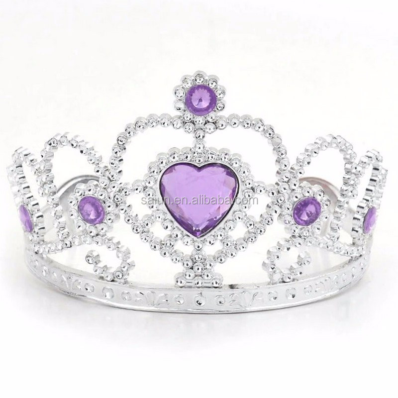 Hot sell kids birthday party princess Halloween frozen plastic crystal tiara