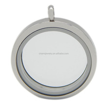 Korea Version Round Magnetic Stainless Steel Locket Necklace Pendant with Beautiful Crystals Inserted