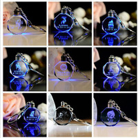 Unique design customized light up key chains for gift popular crystal mini led light keychain