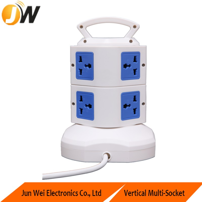 TOWER/Vertical Multi Electrical power socket with 2M power cord and overload protector