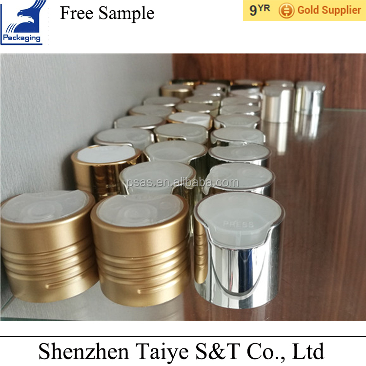 24 28 plastic aluminum shiny sliver disc cap matte press cap for sale
